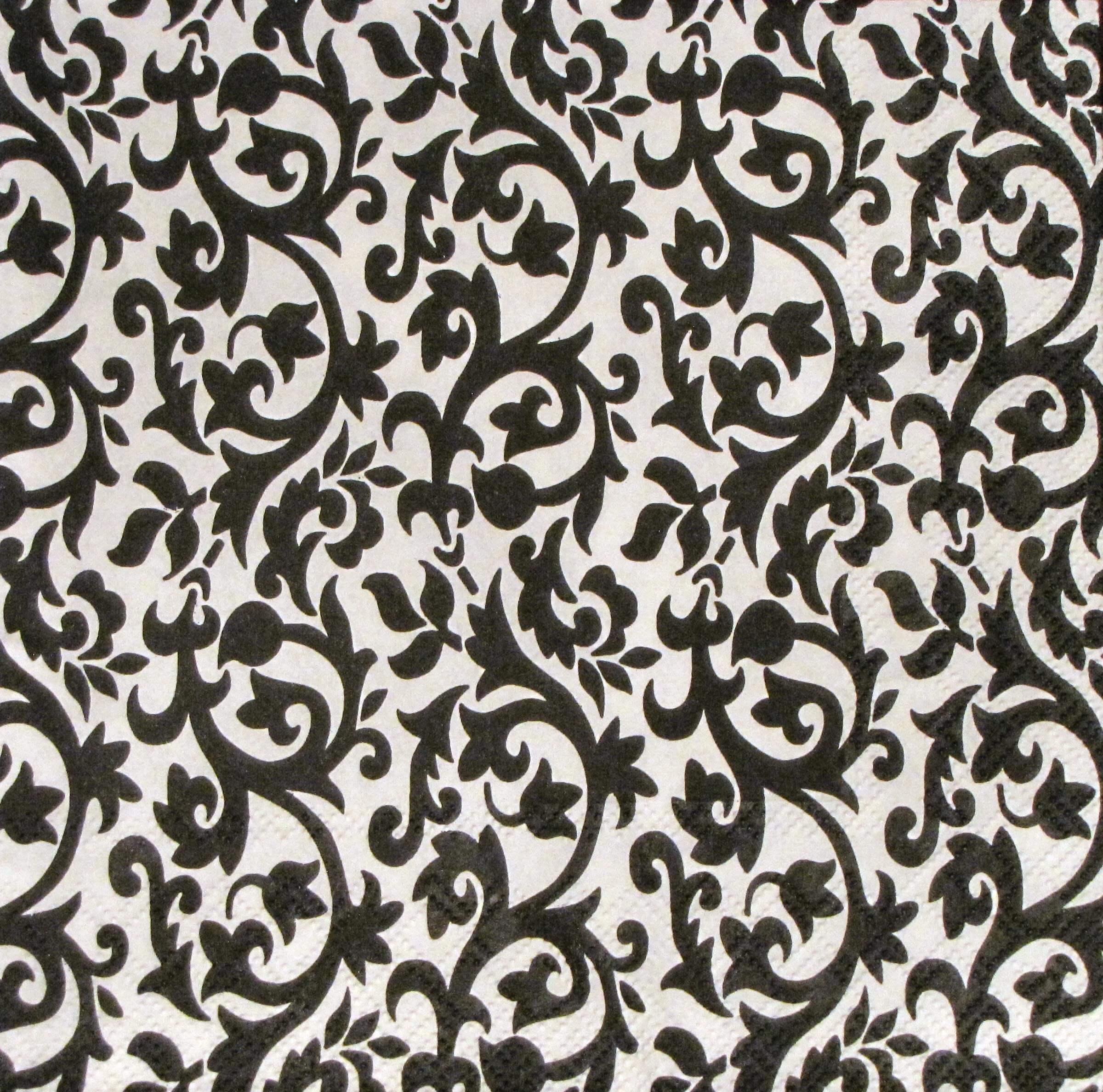 Serviette Ornament schwarz - weiß - Angels Garden Dekoshop