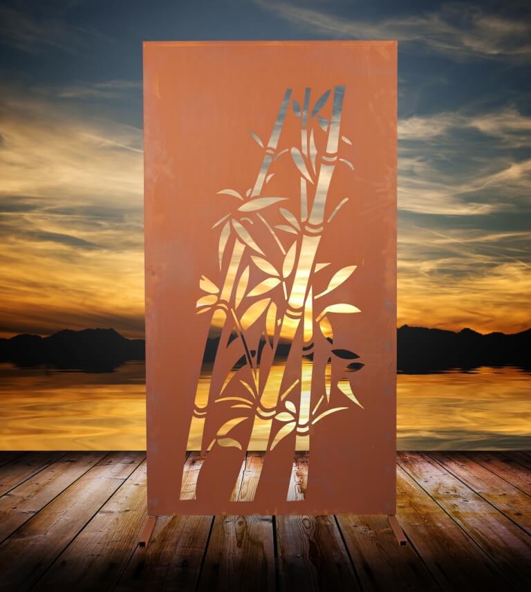 edelrost sichtschutzwand bambus metall raumteiler sichtschutz windschutz ebay. Black Bedroom Furniture Sets. Home Design Ideas