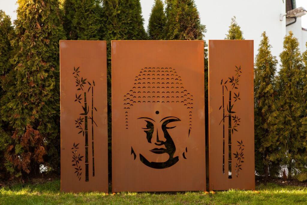 Edelrost Sichtschutzwand Buddha 3 Teilig Metall Raumteiler