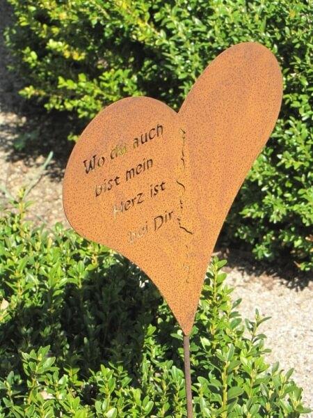 Edelrost gartenstecker herz mit spruch angels garden for Edelrost gartenstecker