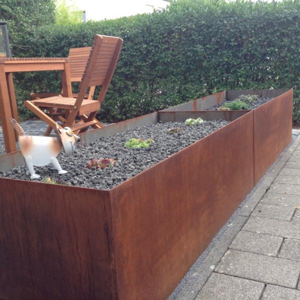 edelrost hochbeet aus metall 200x100 angels garden dekoshop. Black Bedroom Furniture Sets. Home Design Ideas