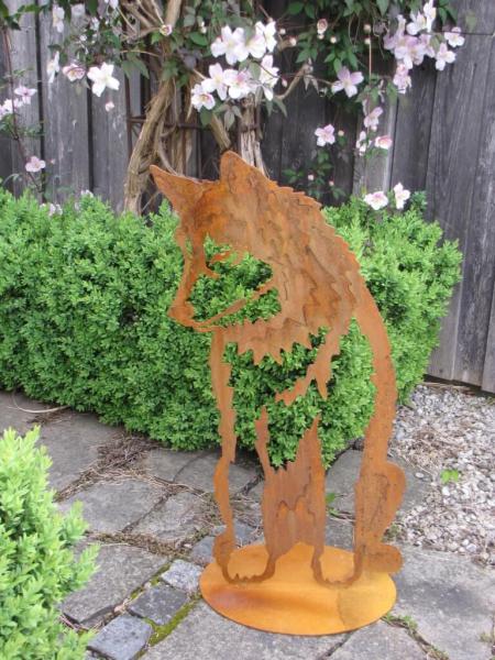 Edelrost husky bj tn auf platte angels garden dekoshop for Gartendeko rostoptik