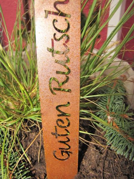 Blumentopf stele aus edelrost guten rutsch angels garden for Blumentopf tiere
