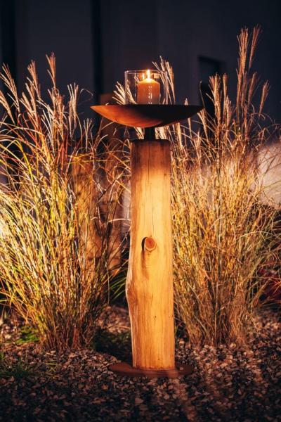 edelrost dekos ule natur mit schale angels garden dekoshop. Black Bedroom Furniture Sets. Home Design Ideas