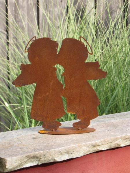 Edelrost engelspaar k ssend angels garden dekoshop for Tiere aus edelrost