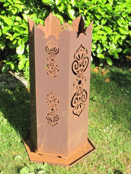 edelrost feuerkorb oder feuers ule marokko sechseckig im. Black Bedroom Furniture Sets. Home Design Ideas