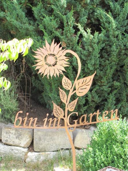 edelrost gartenstecker bin im garten angels garden dekoshop. Black Bedroom Furniture Sets. Home Design Ideas
