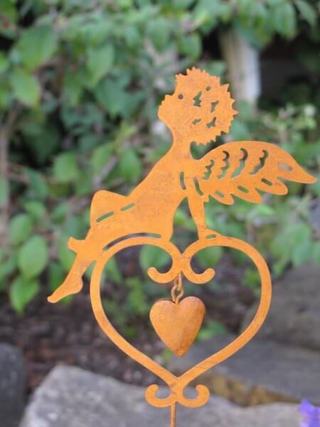 Edelrost gartenstecker engel auf herz angels garden dekoshop for Engel edelrost
