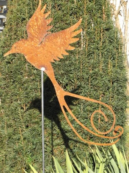 Edelrost gartenstecker paradiesvogel angels garden dekoshop for Gartenstecker edelrost