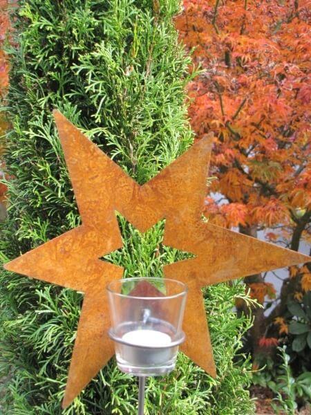 Edelrost gartenstecker stern mit glaswindlicht angels for Edelrost gartenstecker