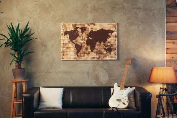 edelrost holz wandbild weltkarte geflammt angels garden dekoshop. Black Bedroom Furniture Sets. Home Design Ideas