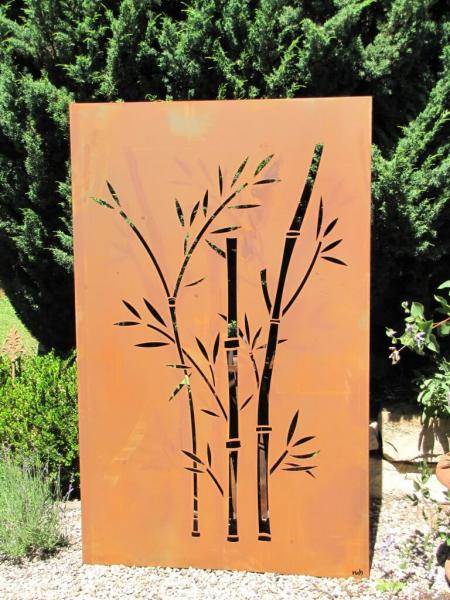 exklusive edelrost sichtschutzwand bambus angels garden dekoshop. Black Bedroom Furniture Sets. Home Design Ideas