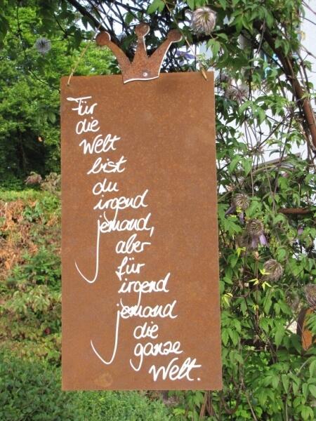 edelrost schild mit krone welt angels garden dekoshop. Black Bedroom Furniture Sets. Home Design Ideas