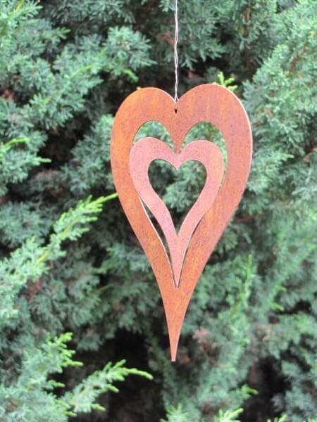 Gro es h ngeherz zum drehen aus edelrost angels garden for Rostige herzen gartendeko
