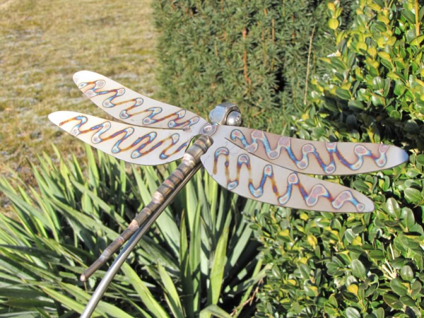 edelstahl gartenstecker libelle 150 cm angels garden. Black Bedroom Furniture Sets. Home Design Ideas
