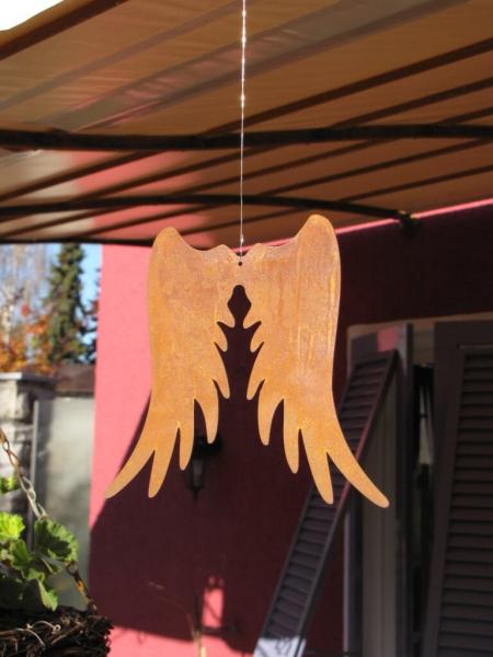engelsfl gel zum h ngen aus edelrost angels garden dekoshop. Black Bedroom Furniture Sets. Home Design Ideas
