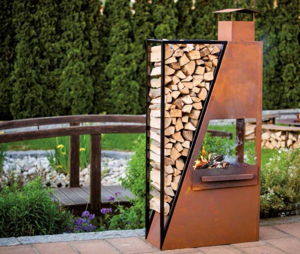 edelrost kaminofen barbeque inkl grillrost metall holzkohlegrill feuerstelle ebay. Black Bedroom Furniture Sets. Home Design Ideas
