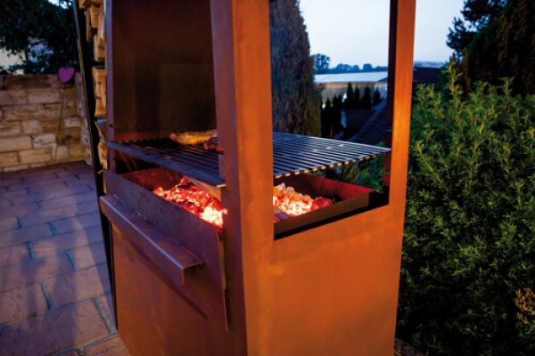 edelrost kaminofen barbeque inkl grillrost angels garden dekoshop. Black Bedroom Furniture Sets. Home Design Ideas