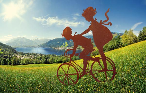 kinder mit fahrrad aus edelrost angels garden dekoshop. Black Bedroom Furniture Sets. Home Design Ideas