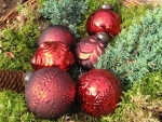 6er Set Christbaumkugeln aus Glas in rot